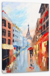 Paris in the rain Stretched Canvas 79670008