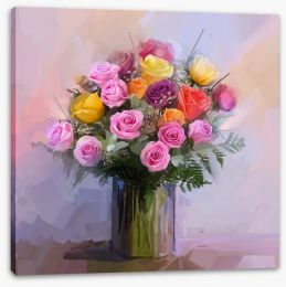 Roses and ferns Stretched Canvas 81446227