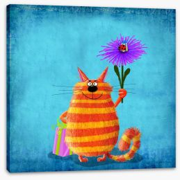 Striped cat with flower Stretched Canvas 82093169