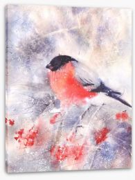 Bullfinch in the frost Stretched Canvas 86584703