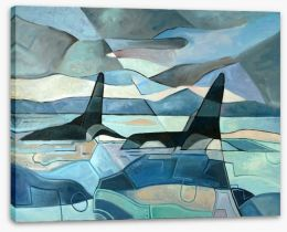 Orcas swimming Stretched Canvas 90991090