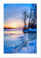 Sunset on the frozen river