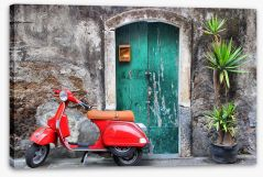 Vespa at the door Stretched Canvas 22425722