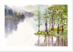 Misty river watercolour