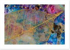 Gold filigree leaf Art Print 50780055
