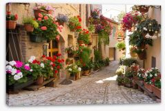 Italian alley with flowers Stretched Canvas 53374967
