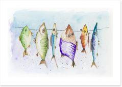 Mackerel on the line Art Print 54269853