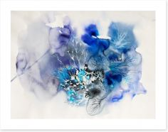 Ink blot abstract in blue