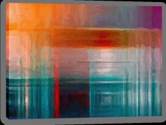 Orange on aquamarine Stretched Canvas 55470795
