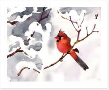 Red snow bird Art Print 57186402