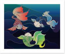 Three fish swim Art Print 62025083
