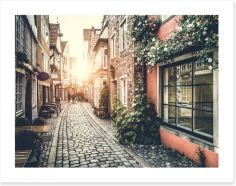 Vintage alley sunset Art Print 64905169