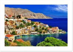 Blue waters of Symi island, Greece