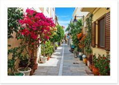 Narrow street in Rethymnon, Greece