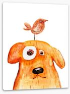 Dog and bird Stretched Canvas 76569879